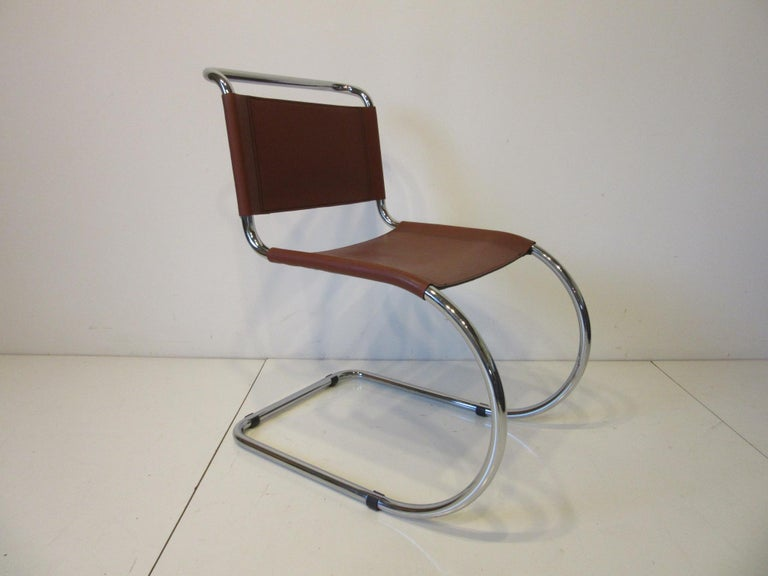 20th Century Ludwig Mies van der Rohe MR -10 Leather / Chrome Cantilever Dining Chairs For Sale