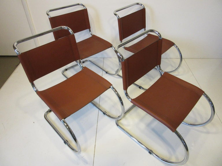 Ludwig Mies van der Rohe MR -10 Leather / Chrome Cantilever Dining Chairs For Sale 2