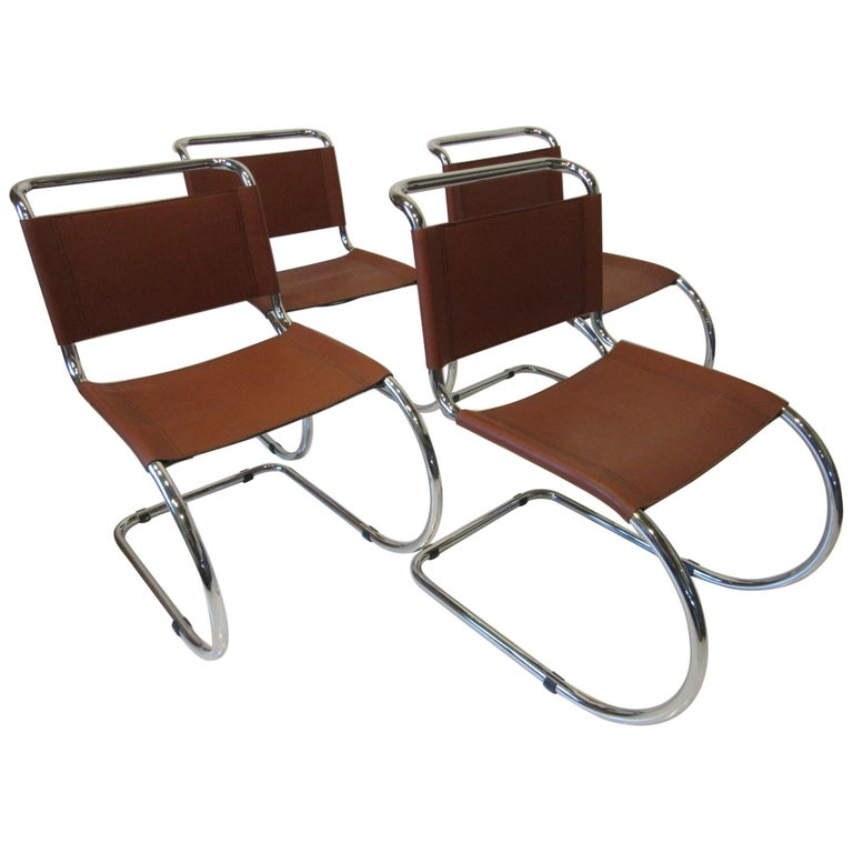 Ludwig Mies van der Rohe MR -10 Leather / Chrome Cantilever Dining Chairs For Sale