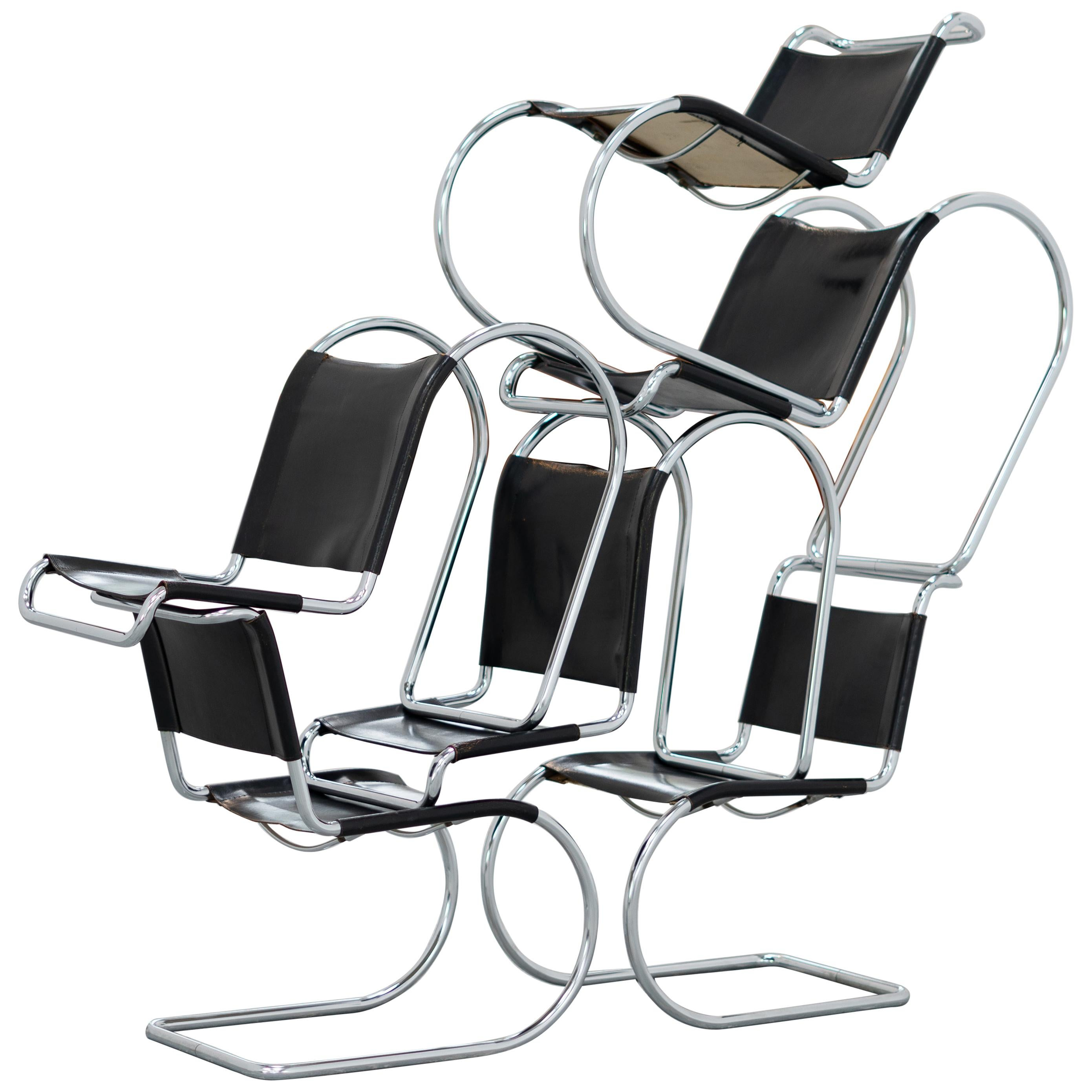 Ludwig Mies van der Rohe, MR10 Cantilever Chair, Black Leather for Thonet, 1927