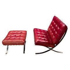 Ludwig Mies van der Rohe Style Barcelona Chair and Ottoman Lounge Chair