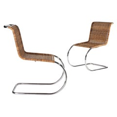 Ludwig Mies van der Rohe Woven Cane Armless MR 10 Chairs for Alivar, 1980
