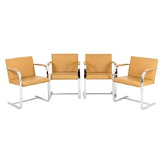"""Ludwig Mies van der Rohe Series of Four Armchairs """"Brno"""" in Chromed Steel and Le"""