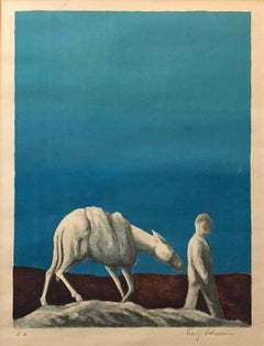 Surrealist German Israeli Lithograph Man and Horse in Landscape