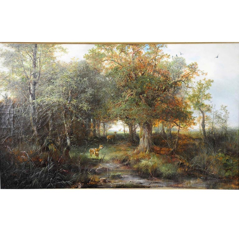 A naturalistic oil painting depicting a deer family in the forest. Oil on canvas by Ludwig Sellmayr (Munich 1834 - 1901). Framed with antique richly decorated and gilded frame. Signed on the lower left.  Measures: width: 32.28