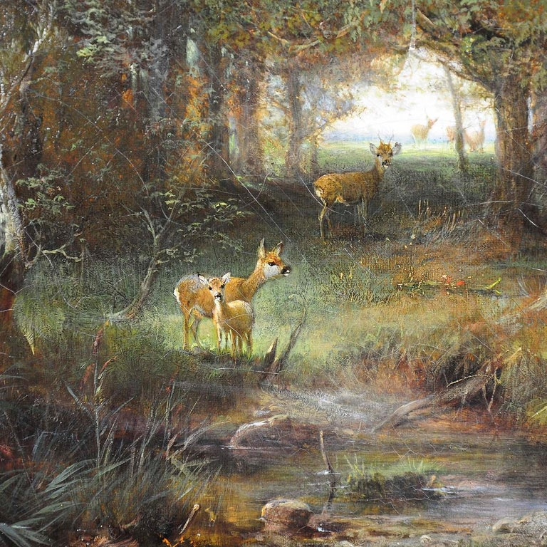 Early Victorian Ludwig Sellmayr, Deer with Doe and Fawn in the Forest, ca. 1880 For Sale