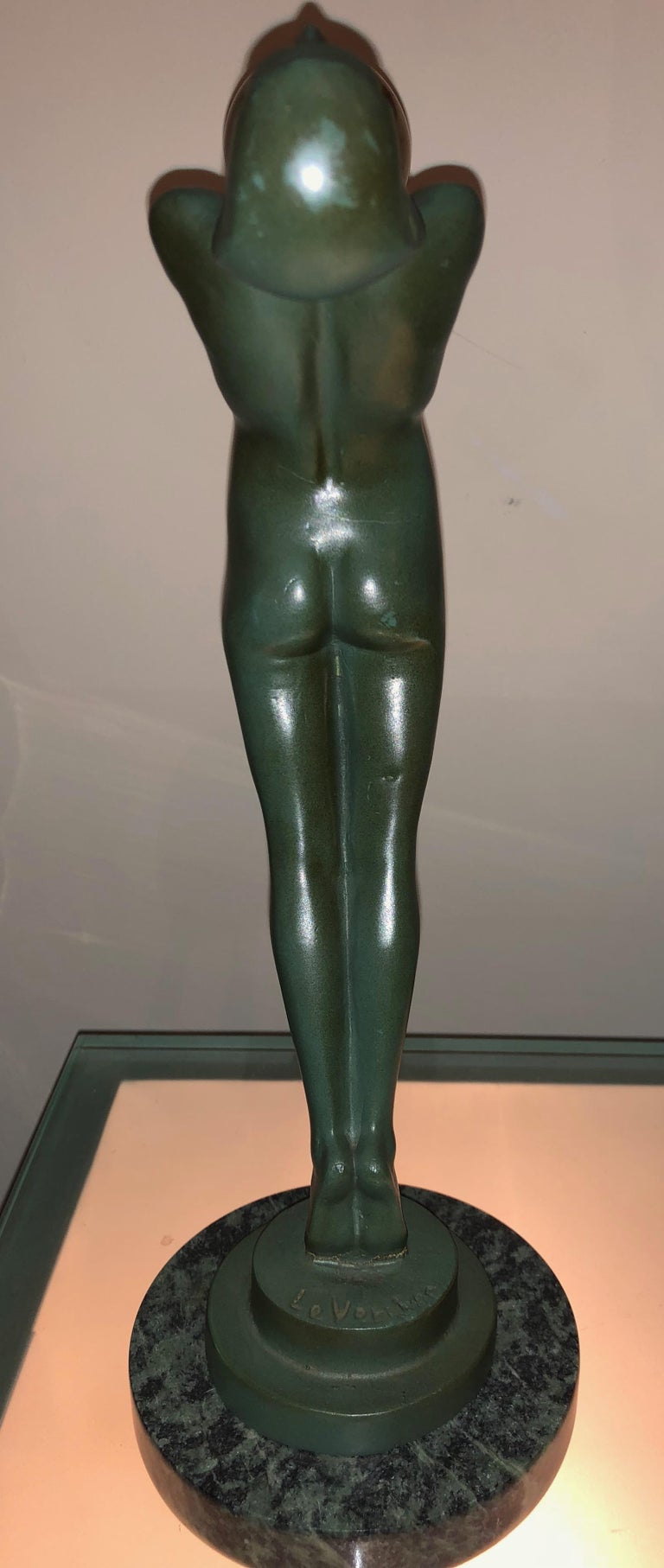 Lueur Classic Art Deco Nude Statue by Max Le Verrier For Sale 5