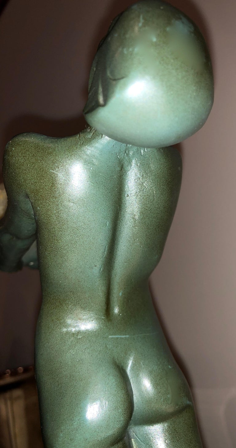 French Lueur Classic Art Deco Nude Statue by Max Le Verrier For Sale