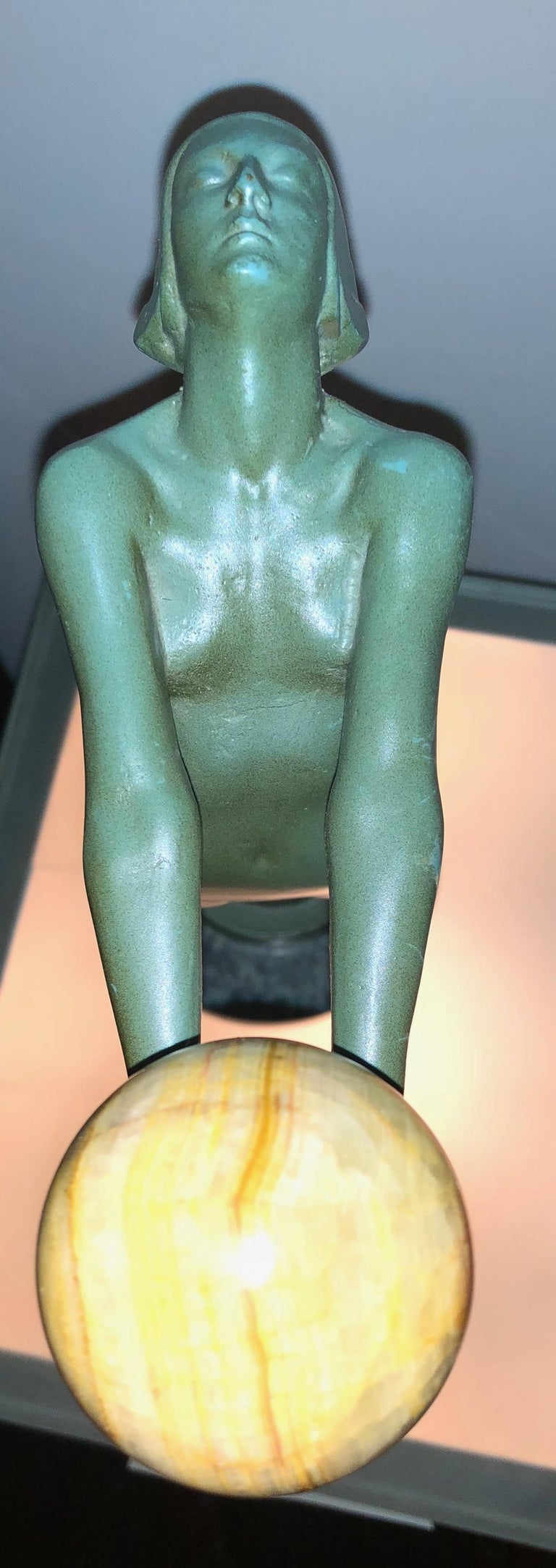 Early 20th Century Lueur Classic Art Deco Nude Statue by Max Le Verrier For Sale