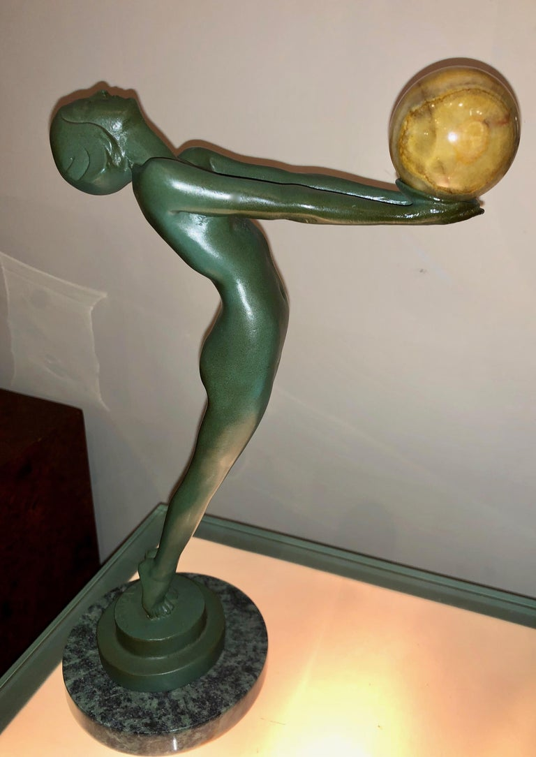 Lueur Classic Art Deco Nude Statue by Max Le Verrier For Sale 3
