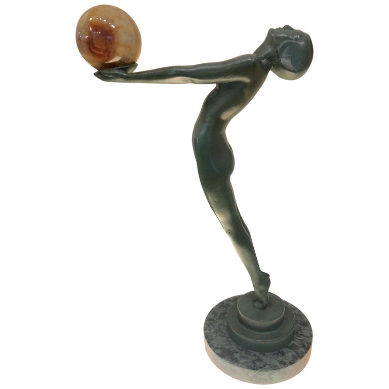 Lueur Classic Art Deco Nude Statue by Max Le Verrier For Sale