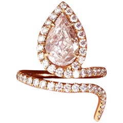 Lugano GIA Natural Fancy Light Pink Pear Shape Diamond Ring in 18 Karat Gold