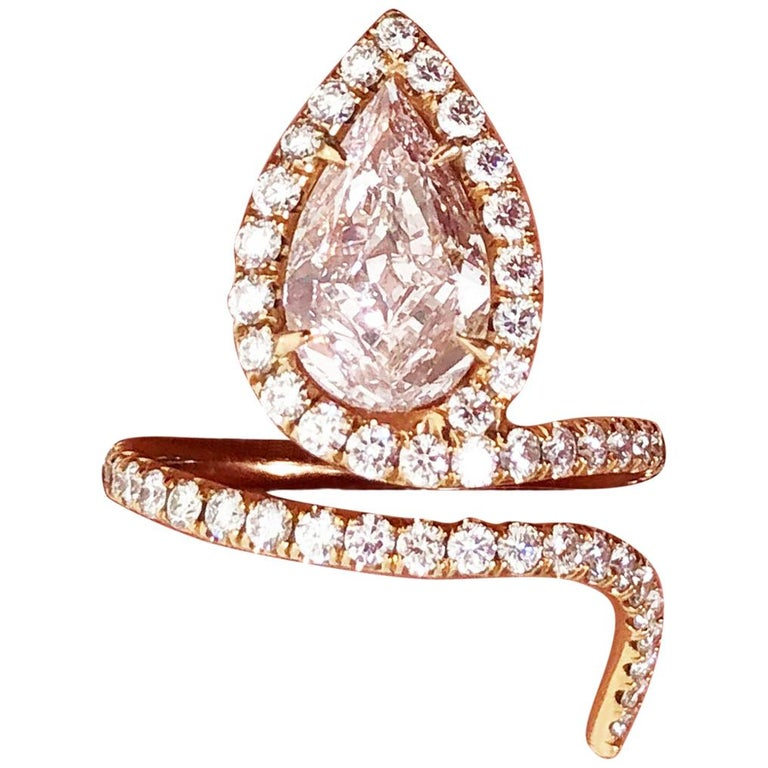 Lugano GIA Natural Fancy Light Pink Pear Shape Diamond Ring in 18 Karat Gold For Sale