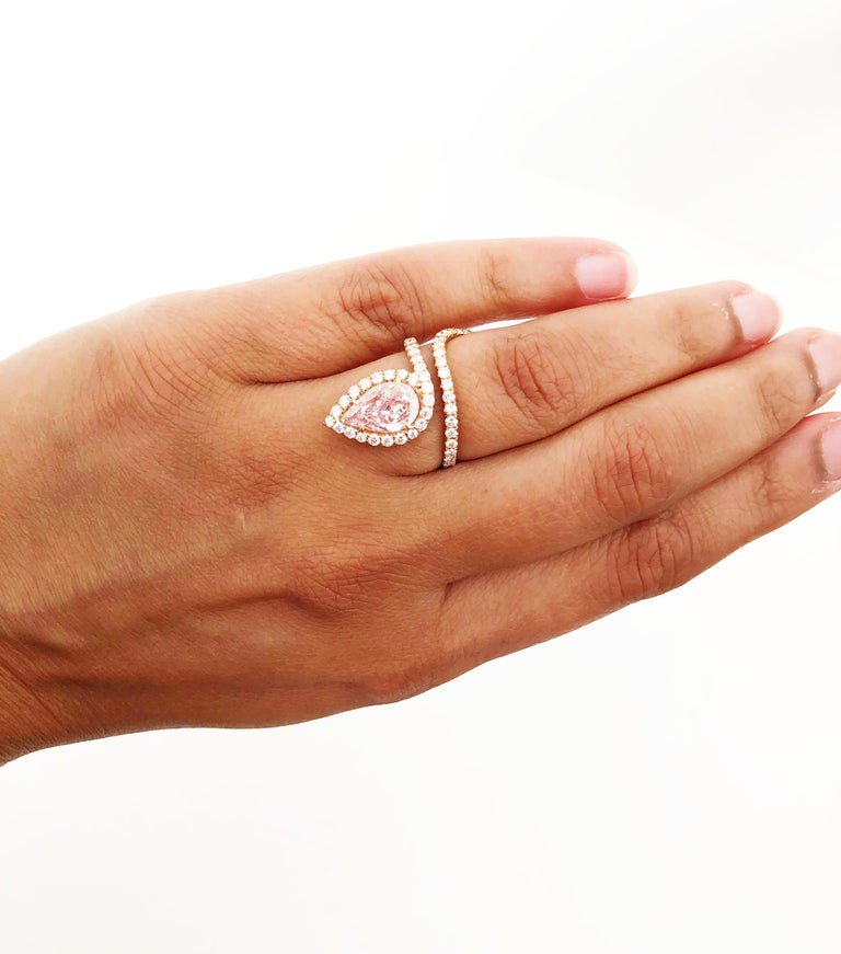Pear Cut Lugano GIA Natural Fancy Light Pink Pear Shape Diamond Ring in 18 Karat Gold For Sale