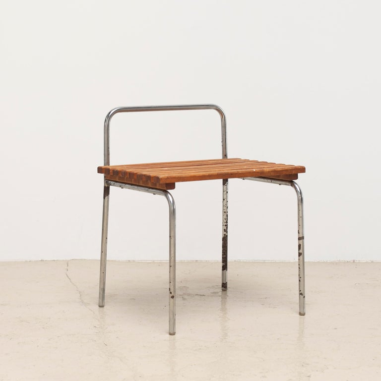 Luggage rack / stool used in les arcs ski resort that is well known as one of the famous works by Charlotte Perriand. 2 pieces available.