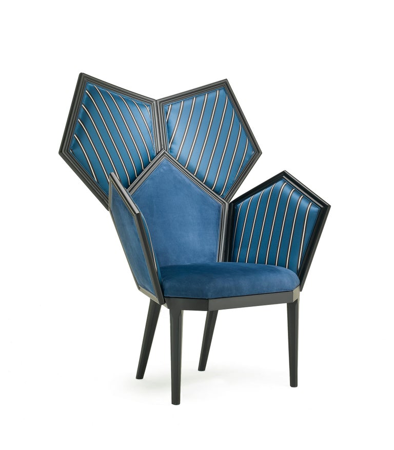 Modern LUI 5/A Armchair in Blue Leather by Philippe Bestenheider For Sale