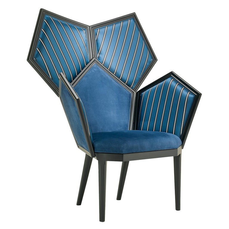LUI 5/A Armchair in Blue Leather by Philippe Bestenheider For Sale