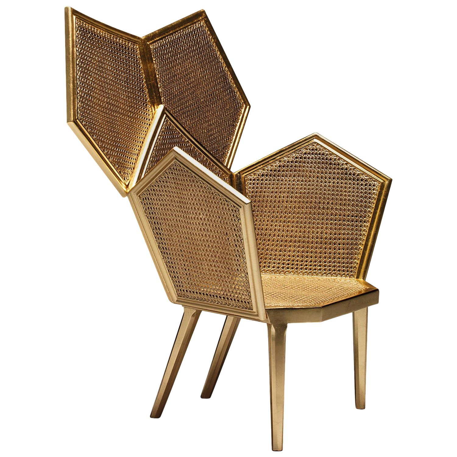 LUI 5/A Double Cane Armchair in Gold Leaf Finish
