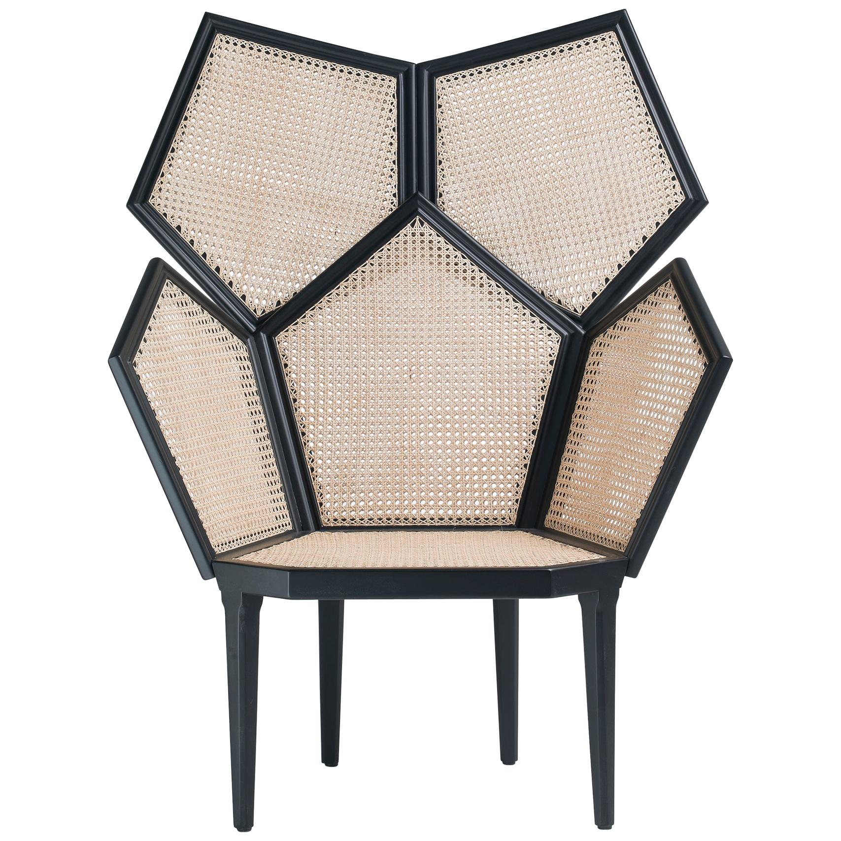 LUI 5/A Double Cane Armchair in Matt Black Lacquered Finish