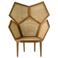Lui 5/A Double Caned Armchair in Mahogany Wood