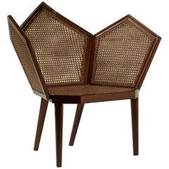 LUI 5/S Single Cane Small Armchair in Shiny Mahogany Finish