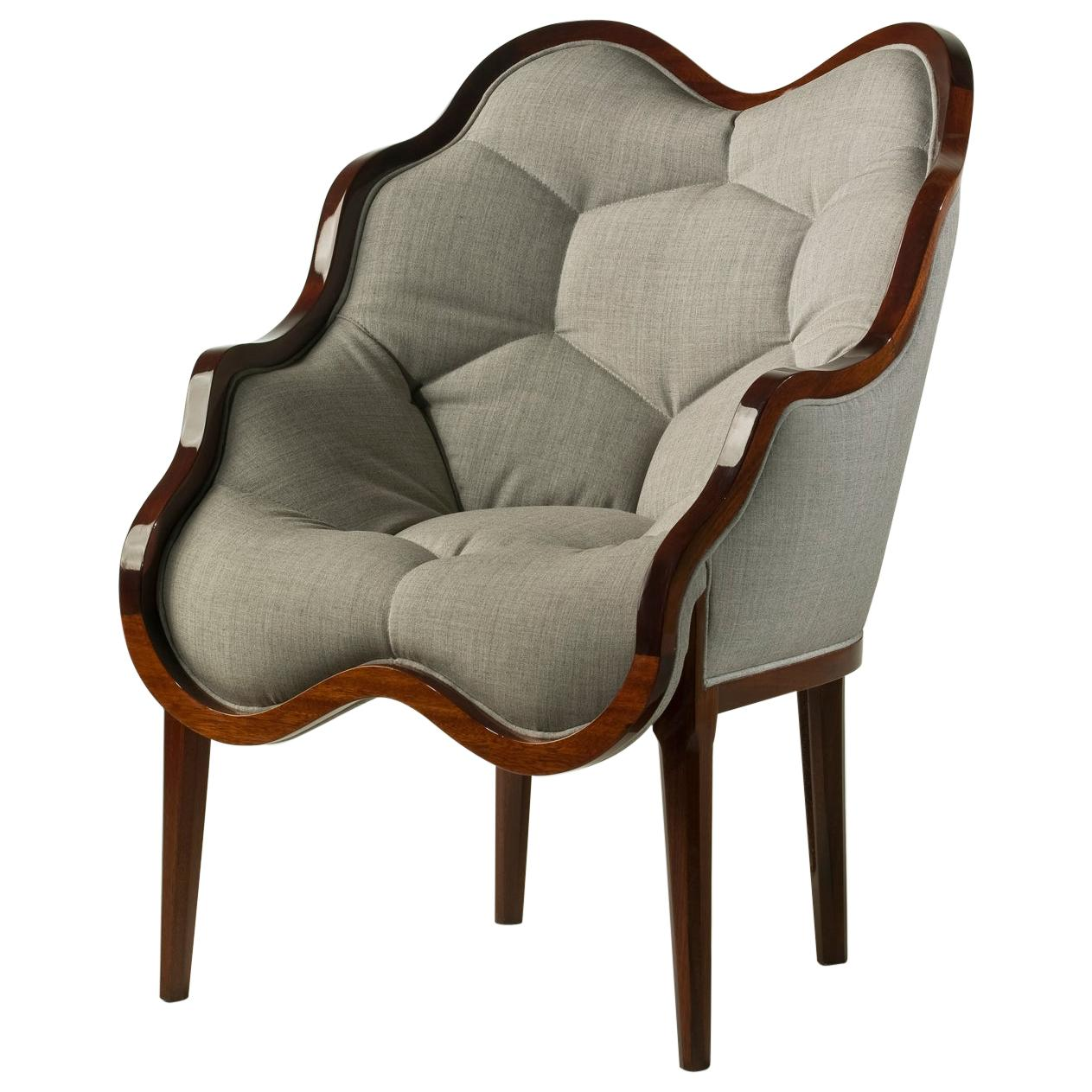 Lui 6/A Armchair with fabric and Solid Wood Frame