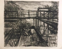 Il Poeta del Ponte - Etching by Luigi Bartolini - 1948
