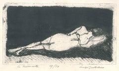 La Buonanotte - Original Etching by Luigi Bartolini - 1934
