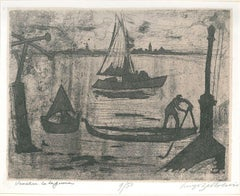 La Laguna di Venezia - Original Etching and Aquatint by Luigi Bartolini - 1951