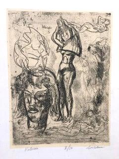 Valeria - Etching by Luigi Bartolini - 1948