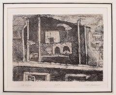 Vita di Pace - Original Etching by Luigi Bartolini - 1957