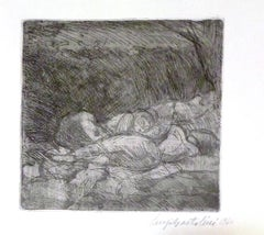 Women Sleeping - Original Etching by Luigi Bartolini - 1940
