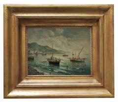 MARINE - Luigi Basile Italian landscape oil on board painting