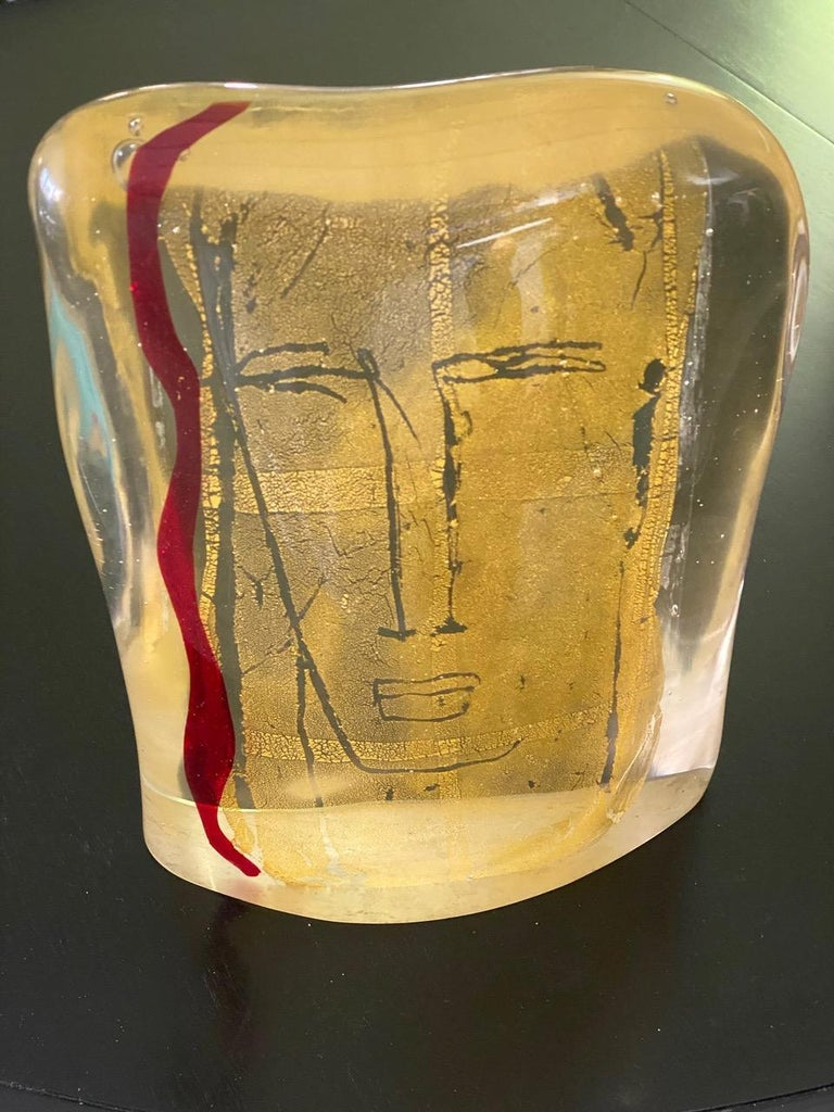 Post-Modern Luigi Benzoni Murano Glass and Gold Face Sculpture, Signed For Sale