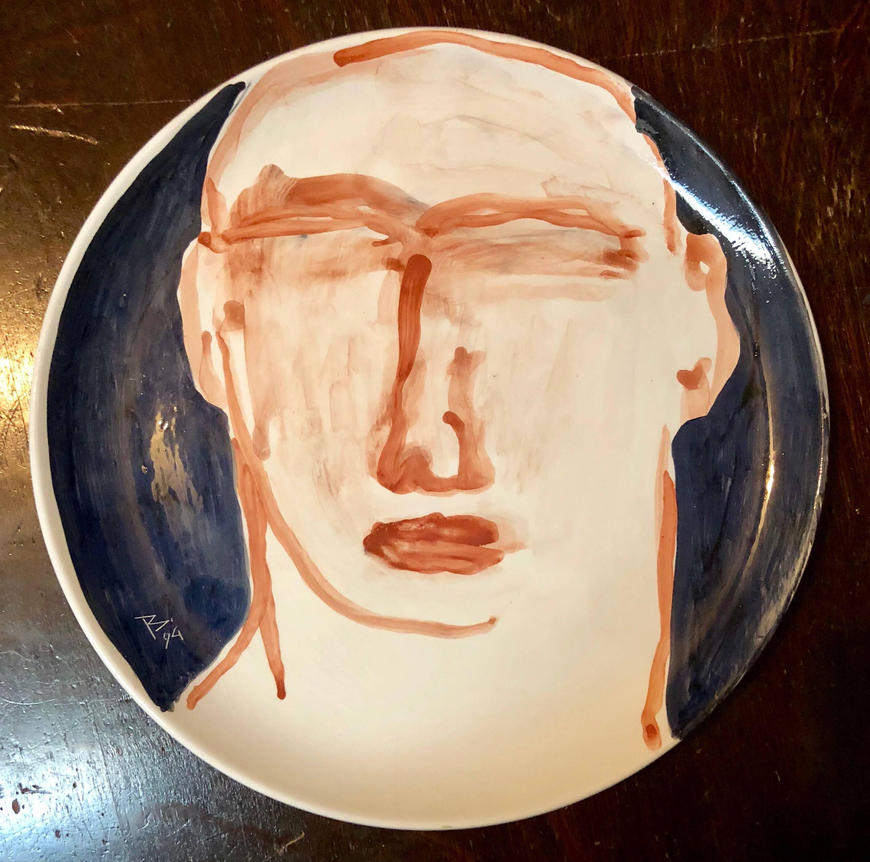 Contemporary Italian Painted Ceramic Artist Plate Brutalist Face Painting