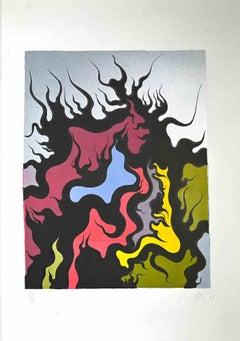 Composition - Original Screen Print by Luigi Boille - 1971
