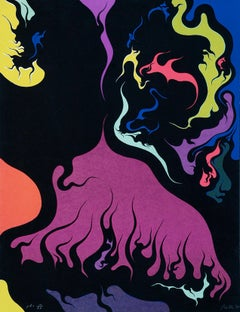 Flames - Original Lithograph by Luigi Boille - 1971