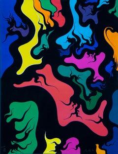 Orange Hell - Original Lithograph by Luigi Boille - 1971