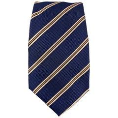 LUIGI BORRELLI Navy & Beige Striped Silk Tie