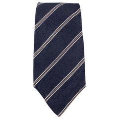 LUIGI BORRELLI Navy Striped Silk / Cashmere Tie