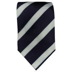 LUIGI BORRELLI Navy & White Stripe Silk Tie