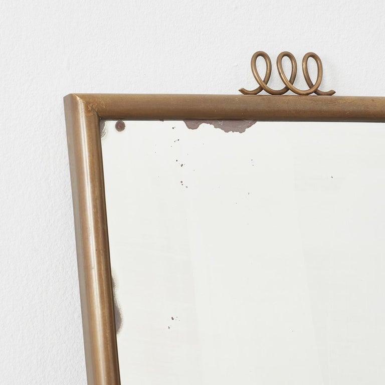 Italian Luigi Brusotti Brass Mirror for Brusotti, Italy, 1950s For Sale