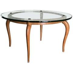 Luigi Brusotti Coffee Table Cristal Wood Brass, 1940, Italy
