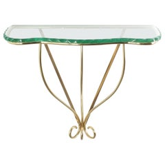 Luigi Brusotti Console Table Brass and in Glass, Italy, circa 1955