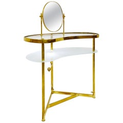 Luigi Brusotti Dressing Table in Brass, Glass and Mirror, Italy