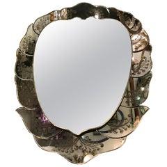 Luigi Brusotti Mirror Glass Wood Metal Crome, 1940, Italy