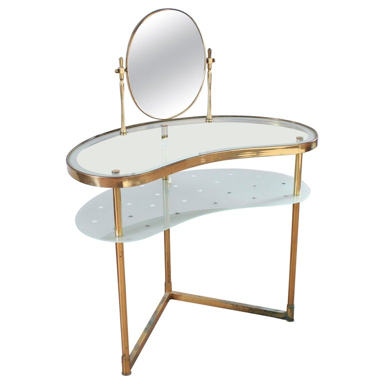 Luigi Brusotti Old Glass and Brass Vanity Console, 1940s, Italy For Sale