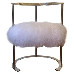 Catilina Chair in White Mongolian Fur By Luigi Caccia Dominioni for Azucena