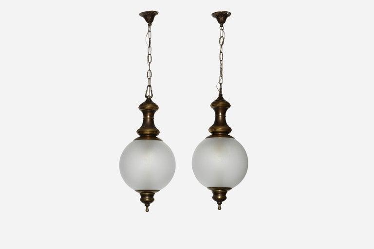 Luigi Caccia Dominioni for Azucena attributed pair of ceiling pendants. Italy, 1950s.