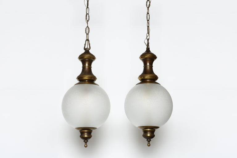 Mid-Century Modern Luigi Caccia Dominioni for Azucena attributed Pair of Ceiling Pendants For Sale